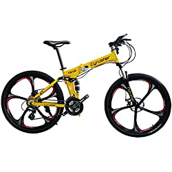 New Updated Cyrusher FR100 Yellow Shimano M310 ALTUS Full Suspenion 24 Speeds Folding Mens Mountain Bike Bicycle 17 in * 26 in Aluminium Frame Disc Brakes