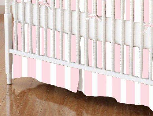 SheetWorld - Crib Skirt - Pastel Pink Stripe Woven - Made In USA