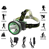 LED Headlamp, LED Flashlight Rechargeable Headlight 2600 feet lighting distance for Mining Camping Hunting Fishing (Green)