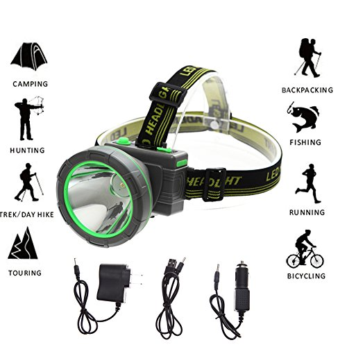 LED Headlamp, LED Flashlight Rechargeable Headlight 2600 feet lighting distance for Mining Camping Hunting Fishing (Green) (2003 Ford F150 Headlamp Knob compare prices)