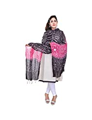Soundarya Pink Black Bandhej Cotton Hand Work Dupatta