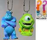"Disney/Pixar's Monsters Inc. ""Mike & Sulley"" Key Chain Set of 2 - Both With Detachable Ball Chain Key Rings - Limited Availability + (2)Colored Belt Loop Key Chains Included"