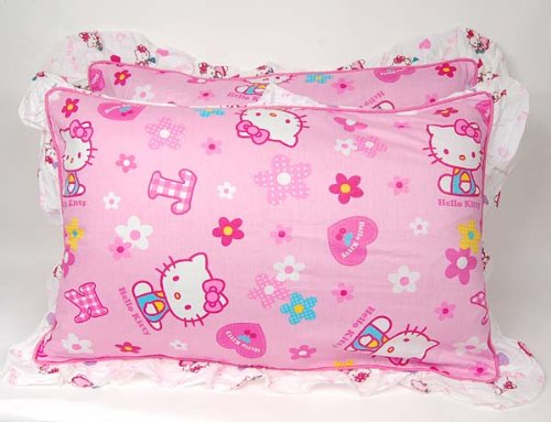 Hello Kitty Cotton Pillow Case Cover Pair Set Pink