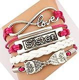 Handmade Infinity Sister Owls Charm Friendship Gift Leather Bracelet - Red