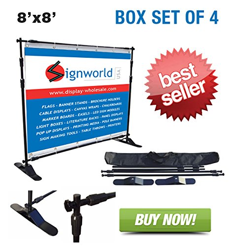 Signworld 8 Ft Jumbo Step And Repeat Telescopic Banner Stand (Box Of 4)