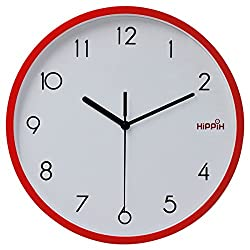 Hippih 10 Silent Quartz Decorative Wall Clock with Glass Cover Non-ticking Digital,2315-G