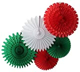 Tissue Paper Fan Collection - 5 Assorted Fans (Red White Green Celebration)