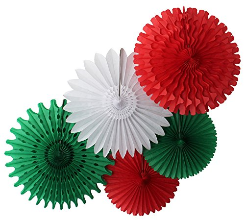 Tissue Paper Fan Collection - 5 Assorted Fans (Red White Green Celebration) (Mexican Fan Decorations compare prices)