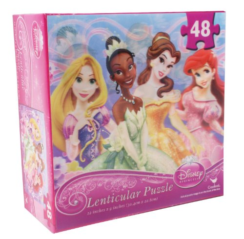 Disney Princess 48-Piece Lenticular Puzzle with Belle, Ariel and Tiana