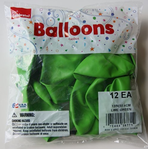 "Way to Celebrate Lime Green 12"" Balloons - 12 Count"
