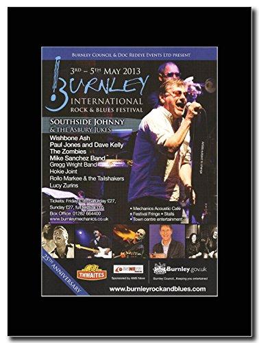 Southside Johnny & del Burnley Asbury Jukes-Rock & Blues Festival 2013 Magazine Promo su un supporto, colore: nero