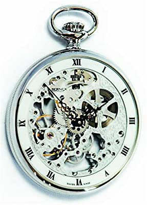 Bernex Pocket Watch BN24201 Rhoduim Plated Open Face Skeleton