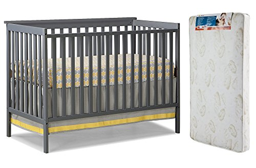 Stork Craft Sheffield Fixed Side Convertible Crib, Grey and Dream On Me Spring Crib and Toddler Bed Mattress, Twilight - 2-Piece Bundle (Stork Tuscany Espresso Changing compare prices)