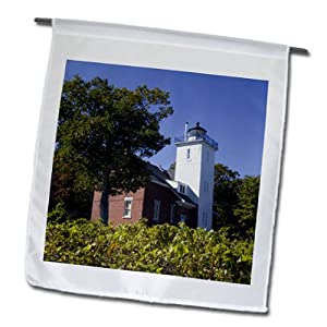 fl_91243_1 Danita Delimont - Lighthouses - MI, Lake Huron, Forty Mile Point Lighthouse - US23 WBI0162 - Walter Bibikow - Flags - 12 x 18 inch Garden Flag