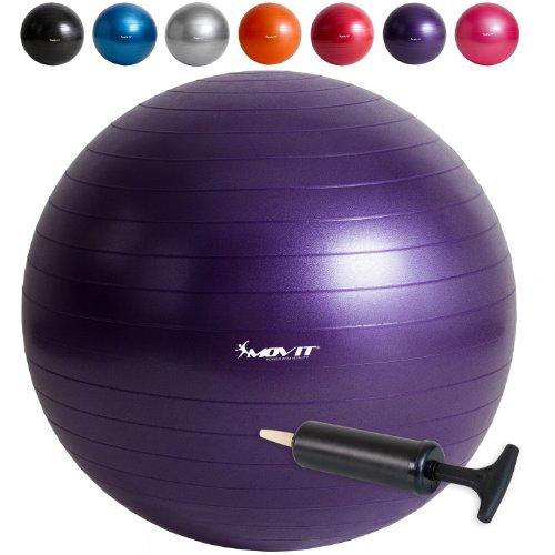 MOVIT� Gymnastikball, inklusive Pumpe, Fitnessball, Sitzball, in 65cm oder 75cm in 7 Farben, blau, pink, silber, schwarz, orange, rot, violett, Maximalbelastbarkeit bis 300kg, Anti Burst Material