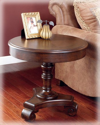 Cheap Old World Style Round End Table in Dark Rustic Finish (T496-6)