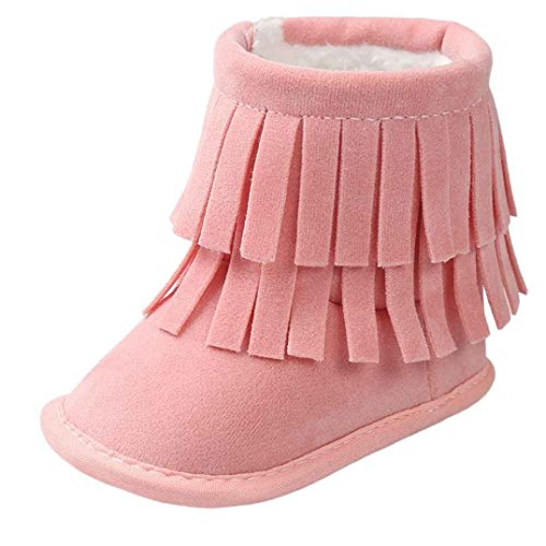 Voberry Baby Toddler Girls Boys Winter Warm Snow Boot Tassels Trimmed Boots Outdoor (0~6Month, Pink)