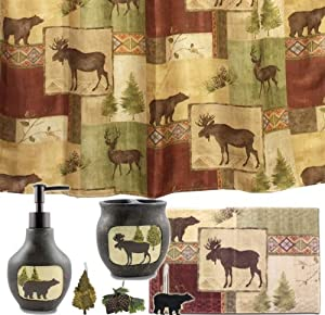 Amazon Com Mountain Moose And Bear 5 Piece Bath Set