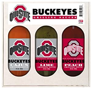Ohio State Buckeyes Ncaa Grilling Gift Set 12oz Cajun 12oz Lime 12oz Peach by Hot Sauce Harrys