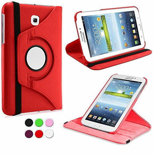 Feelglad (TM) 360 Rotating Pu Leather Folio Case and Stand Feature with Supports Smart Cover Wake/sleep Function for Samsung Galaxy Tab 3 7.0 Inch 7-inch (Sm-t210 / Sm-t217) - White (D-Tab3 T210--Red)