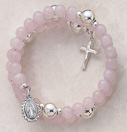 Rose Quartz Wrap Around Five Decade Catholic 6MM Rosary Bracelet Fine Religious Jewelry