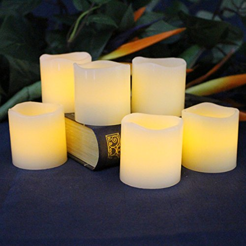 "LED Lytes Flameless Candles, Battery Operated Votive Set of 6 - 2""x 2"", Ivory Colored Wax and Amber Yellow Flame, Christmas, Parties, Gifts"