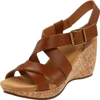 Clarks Women's Harwich Cast Wedge Sandal,Tan Leather,11 M US