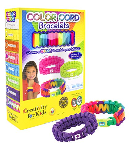Creativity for Kids Color Cord Bracelets - Teaches Beneficial Skills - Comes with Scissors and Glue - Colored Bracelets for any Mood - Ages 7 and Up