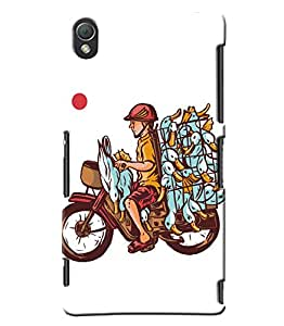Blue Throat Bike Man With Hens Printed Designer Back Cover/Case For Sony Xperia Z3