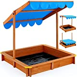 Sandbox deluxe 120x120cm - Sand pit with adjustable roof -outdoor games sunshade