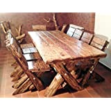 Casa Padrino Esszimmer Set Rustikal - Tisch + 6 Stühle - Eiche Massivholz - Echtholz Möbel Massiv Burgmöbel