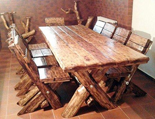 Casa Padrino Esszimmer Set Rustikal – Tisch + 6 Stühle – Eiche Massivholz – Echtholz Möbel Massiv Burgmöbel online kaufen