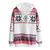Women Christmas Snow Hoodie Sweatshirt Sweater Hooded Pullover (S)