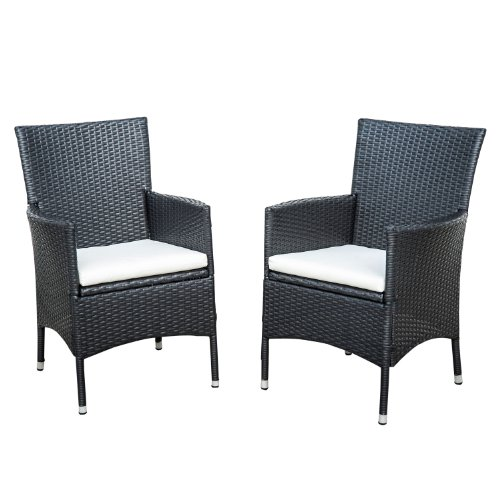 rattan wicker outdoor dining arm chairs black 2 pack coconuas27