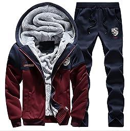 BICMART Men\'s Winter Zip Up Fleece Hoodie Coat with Sherpa Lining And Pant