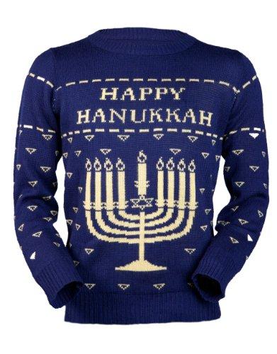 Jingleballz Men's Happy Hanukkah Sweater -L Blue