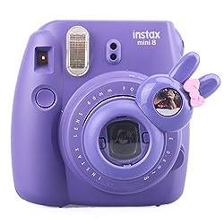 [Fujifilm Instax Mini 7s Mini 8 Selfie Lens] -- CAIUL Rabbit Style Instax Close Up Lens with Self-portrait Mirror For Fujifilm Instax Mini 8 mini 7s Camera and Polaroid 300 (PURPLE)