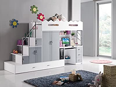 childrens bunk bed with Childrens computer desk and loads of storage - silver colour to match every bedroom - very high quality bed made of solid wood - each bed measures 2000cm x 900cm - total space required 3000cm x 900cm - comes flat packed