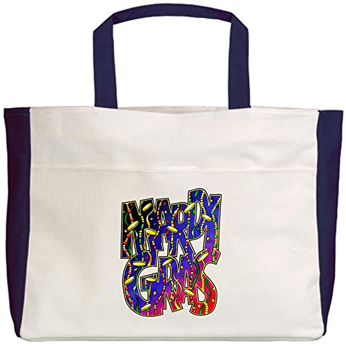 Royal Lion Beach Tote (2-Sided) Mardi Gras Fat Tuesday with Beads
