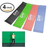 "Top Rated Resistance Bands (4) 10"" Flat Loop Bands Fitness Set (Light, Medium, Heavy, & X-Heavy Resistance Levels) * Best Quality 100% Natural Rubber Stretch Latex Loops for Men & Women * Exercises Including Yoga, P90x, Asylum, Insanity, Crossfit, Beachbody, Pilates, Recovery, Physical Therapy, Strengthening Training * Your Home Gym Workout for Upper and Lower Body Including Legs Hip Shoulders Chest Arms Ankles and Core Strength Exercises * GHIFIT 100% Money Back Guarantee * By GHI"