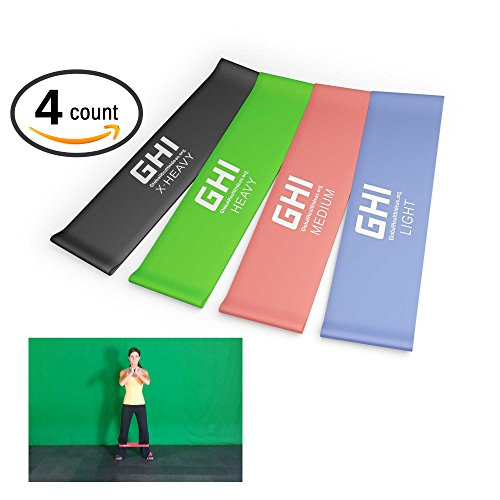 """Top Rated Resistance Bands (4) 10"""" Flat Loop Bands Fitness Set (Light, Medium, Heavy, & X-Heavy Resistance Levels) * Best Quality 100% Natural Rubber Stretch Latex Loops for Men & Women * Exercises Including Yoga, P90x, Asylum, Insanity, Crossfit, Beachbody, Pilates, Recovery, Physical Therapy, Strengthening Training * Your Home Gym Workout for Upper and Lower Body Including Legs Hip Shoulders Chest Arms Ankles and Core Strength Exercises * GHIFIT 100% Money Back Guarantee * By GHI"""