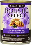 Holistic Select Natural Grain Free Wet Canned Dog Food, Chicken Recipe, 13-Ounce Can (Pack of 12)