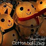 雪だるま コットン ボール ランプ ボンボラ ライト 間接 照明 ボール 型 ランプ パステルカラー ハンドメイド おしゃれ インテリア照明
