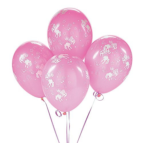 Fun Express Cowgirl Pink Western Rodeo Dance Birthday Party Balloons (25 Pack)
