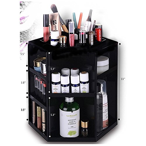 HiCollie Makeup/Cosmetic Organizer 360 Rotating /Revolving Cosmetic Storage Tabletop Big Capacity Carousel New Sturdy Stylish 2016 Black (Tabletop Cosmetic Organizer compare prices)
