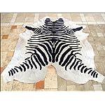 Zebra Print Leather Pure Brazillian Cowhide Skin Rug