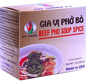 VV Foods Vietnamese Beef Pho Noodle Soup Spice, 1-Ounce Boxes (Pack of 10) by VV Foods