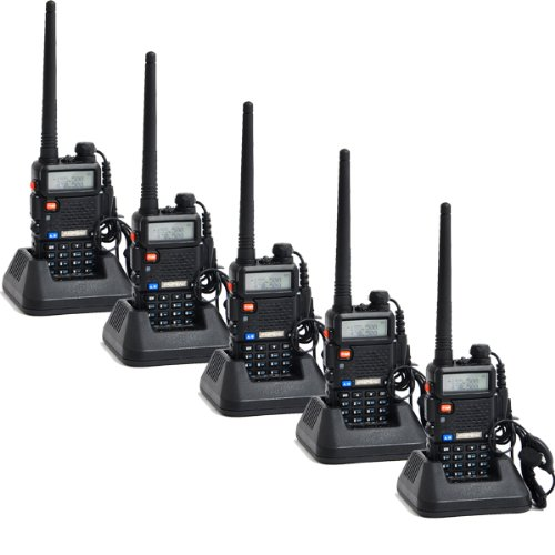 Super Quality!!!Baofeng Uv-5R Uhf/Vhf 136-174/400-480 Mhz Dual-Band Ctcss/Dcs Fm Transceiver Amateur Radio Walkie Talkies With Headsets 2 Way Radio Long Range Black 5 Pack Special Price!!!