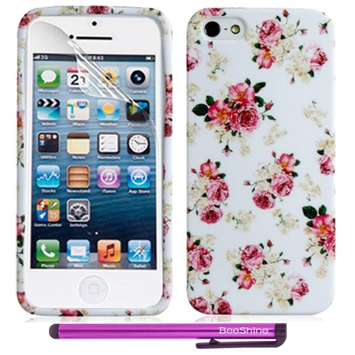 Beeshine Retail Package Protective Soft Rubber Skin Flexible Tpu Gel Case Cover With Lcd Film Screen Protector & Touch Stylus Pen For Apple Iphone 5S / Iphone 5 (Pink Yellow Small Flowers)