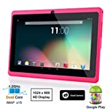 Dragon Touch® 7'' Pink Dual Core Y88 Google Android 4.1 Tablet PC, Dual Camera, HD 1024x600, Google Play Pre-load, HDMI, 3D Game Supported (enhanced version of A13) [By TabletExpress]
